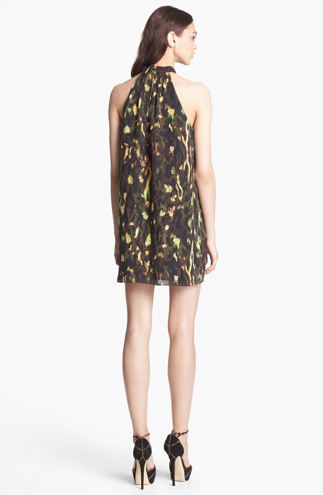 Alternate Image 2  - Haute Hippie Print Silk Halter Minidress