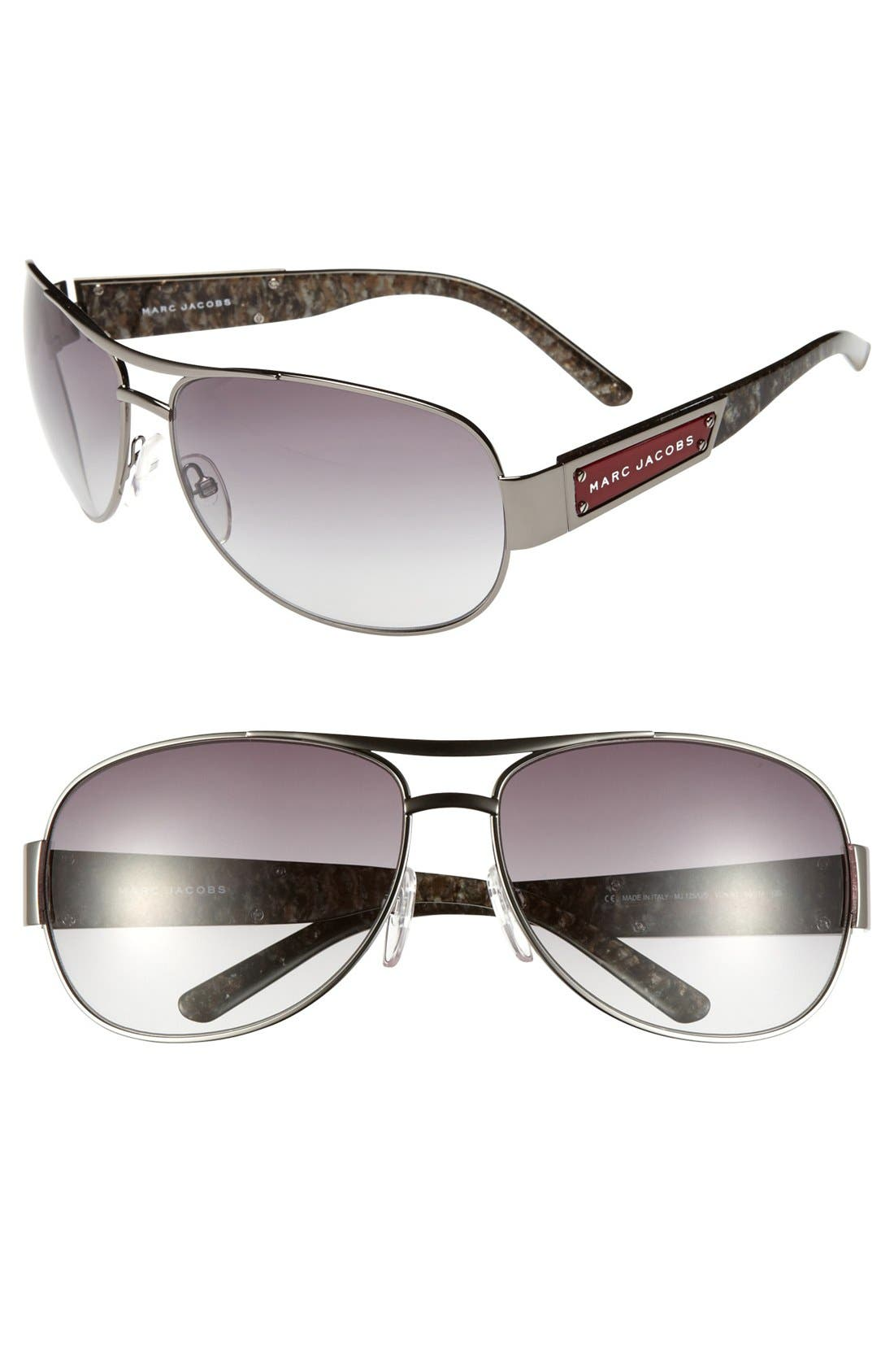 Main Image - MARC JACOBS Metal 65mm Aviator Sunglasses
