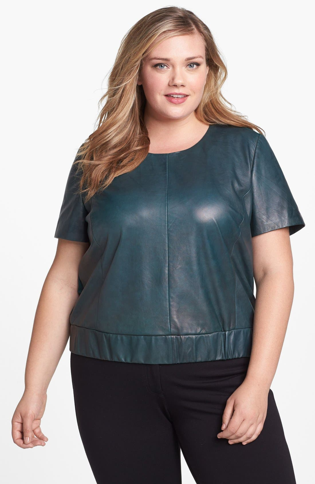 Alternate Image 1 Selected - Halogen® Leather & Ponte Knit Top (Plus Size)