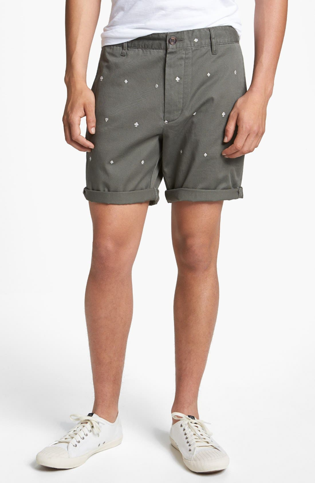 Main Image - Topman Embroidered Playing Card Shorts