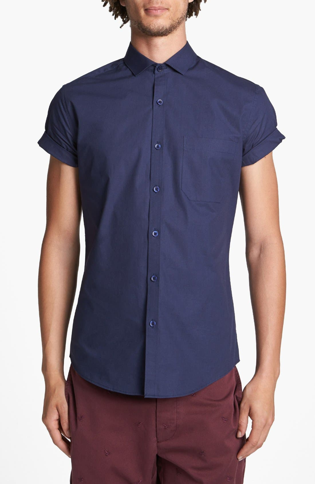 Alternate Image 1 Selected - Topman Short Sleeve Cotton Shirt