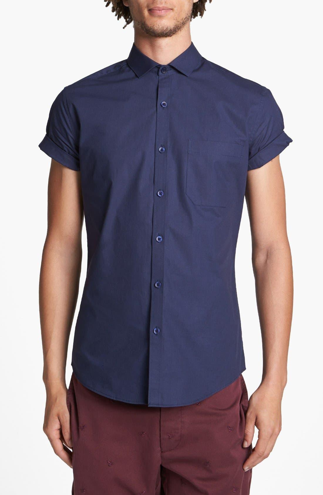 Main Image - Topman Short Sleeve Cotton Shirt