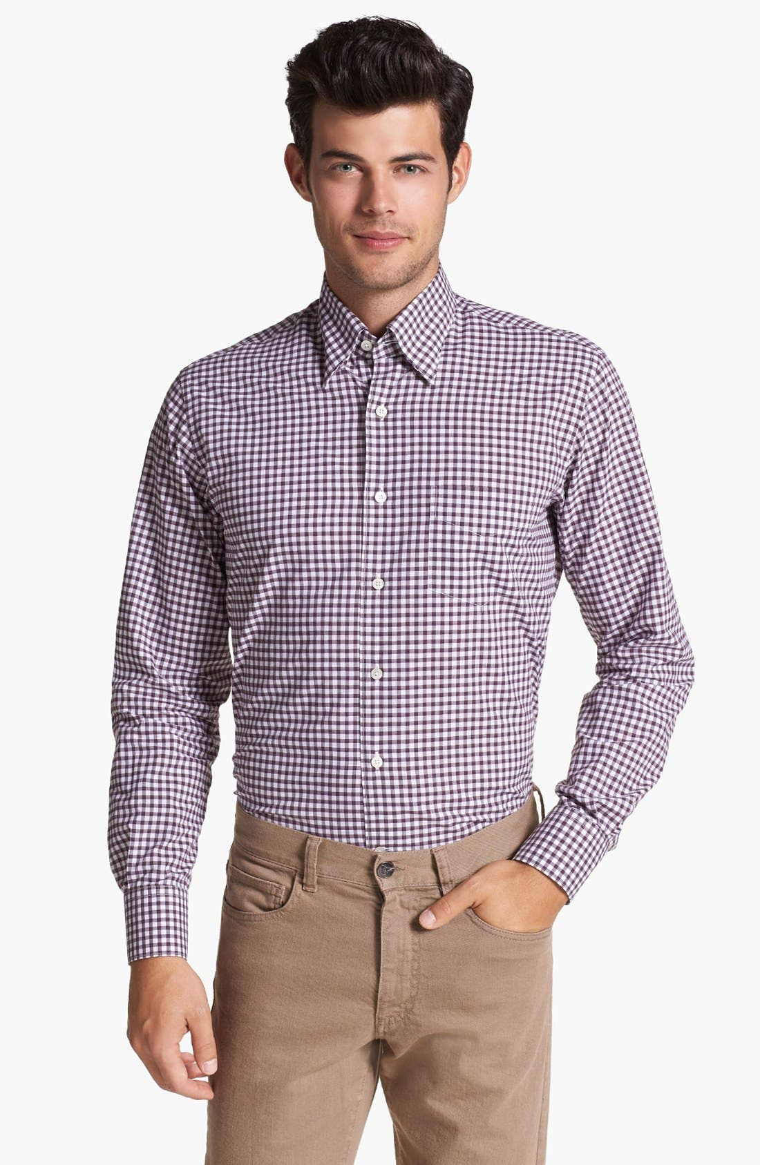 Main Image - Canali Regular Fit Check Sport Shirt