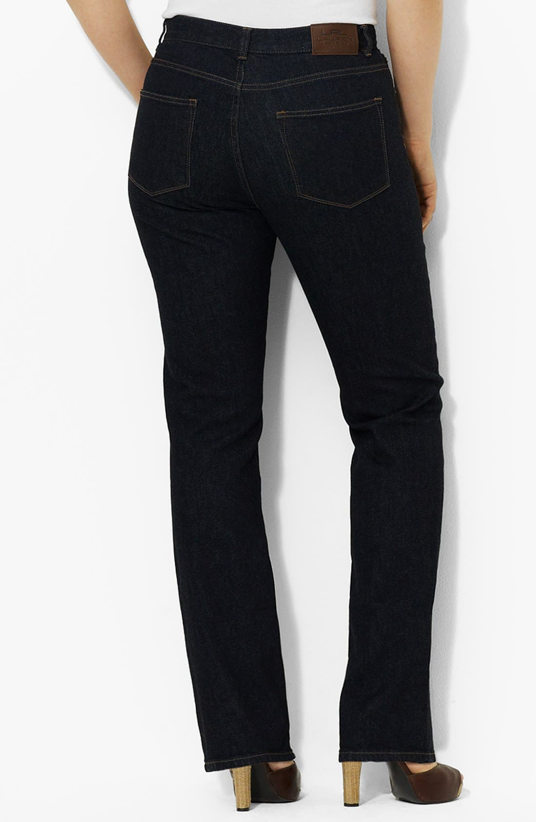 Alternate Image 2  - Lauren Ralph Lauren Straight Leg Jeans (Plus Size)