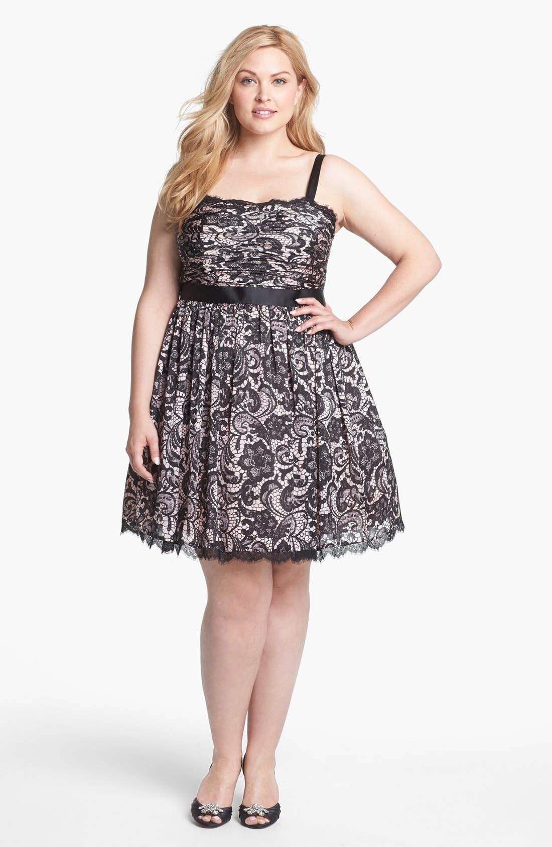 Alternate Image 1 Selected - Adrianna Papell Lace Print Tulle Fit & Flare Dress (Plus Size)