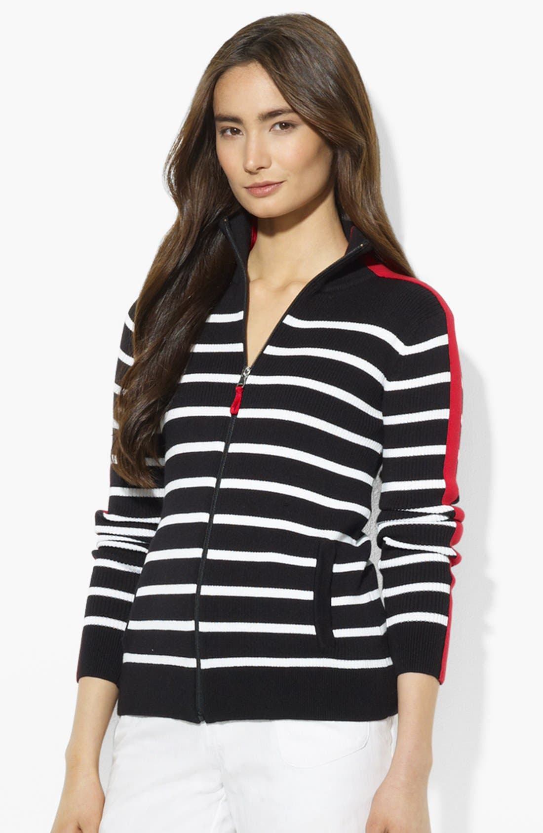 Main Image - Lauren Ralph Lauren Zip Front Stripe Cardigan