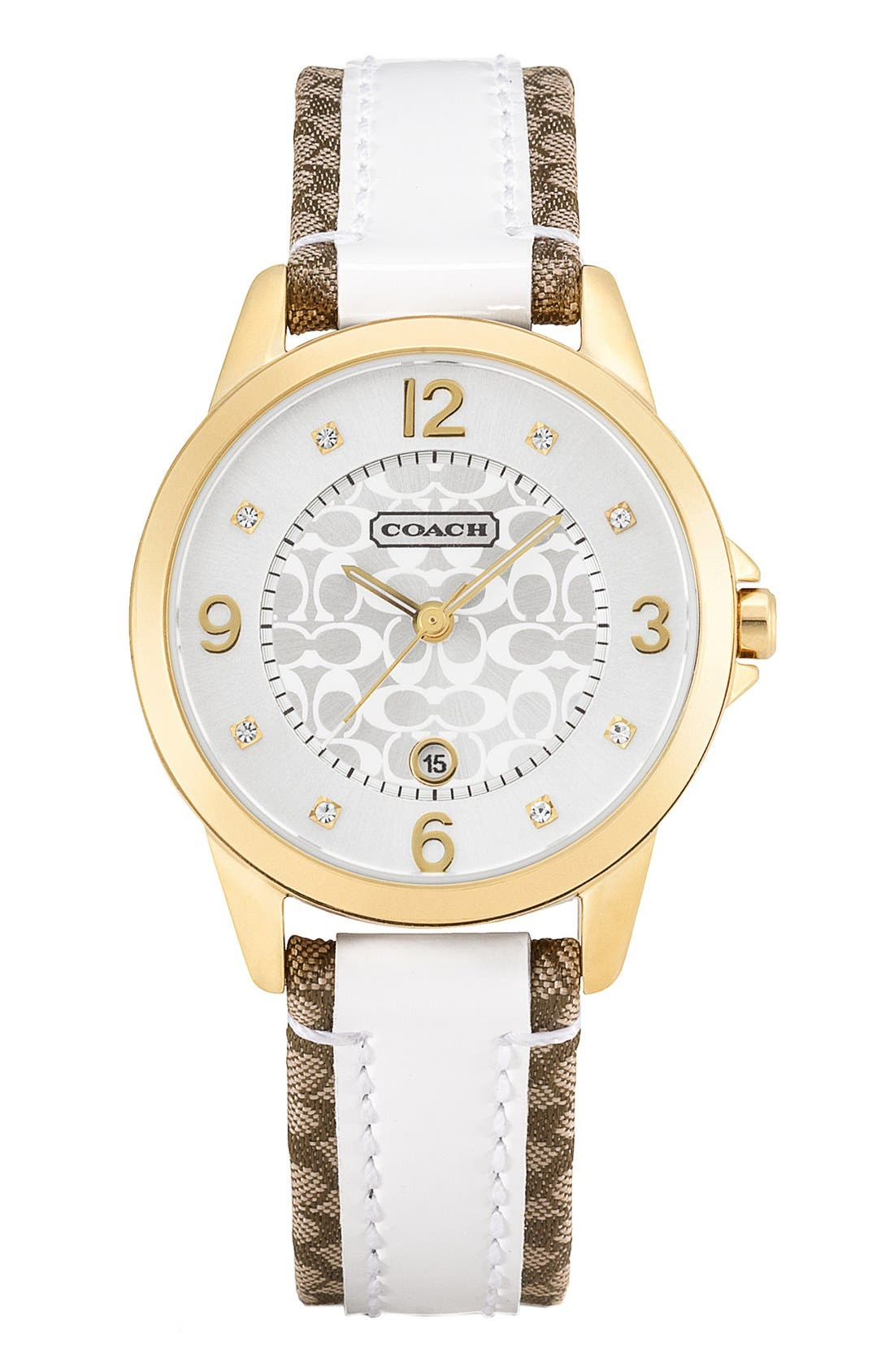 Main Image - COACH 'Classic Signature' Leather Strap Watch