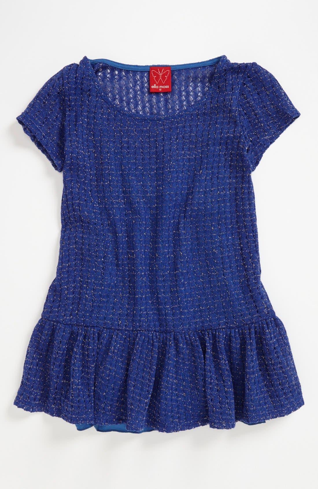 Alternate Image 1 Selected - Ella Moss Peplum Top (Big Girls) (Online Only)