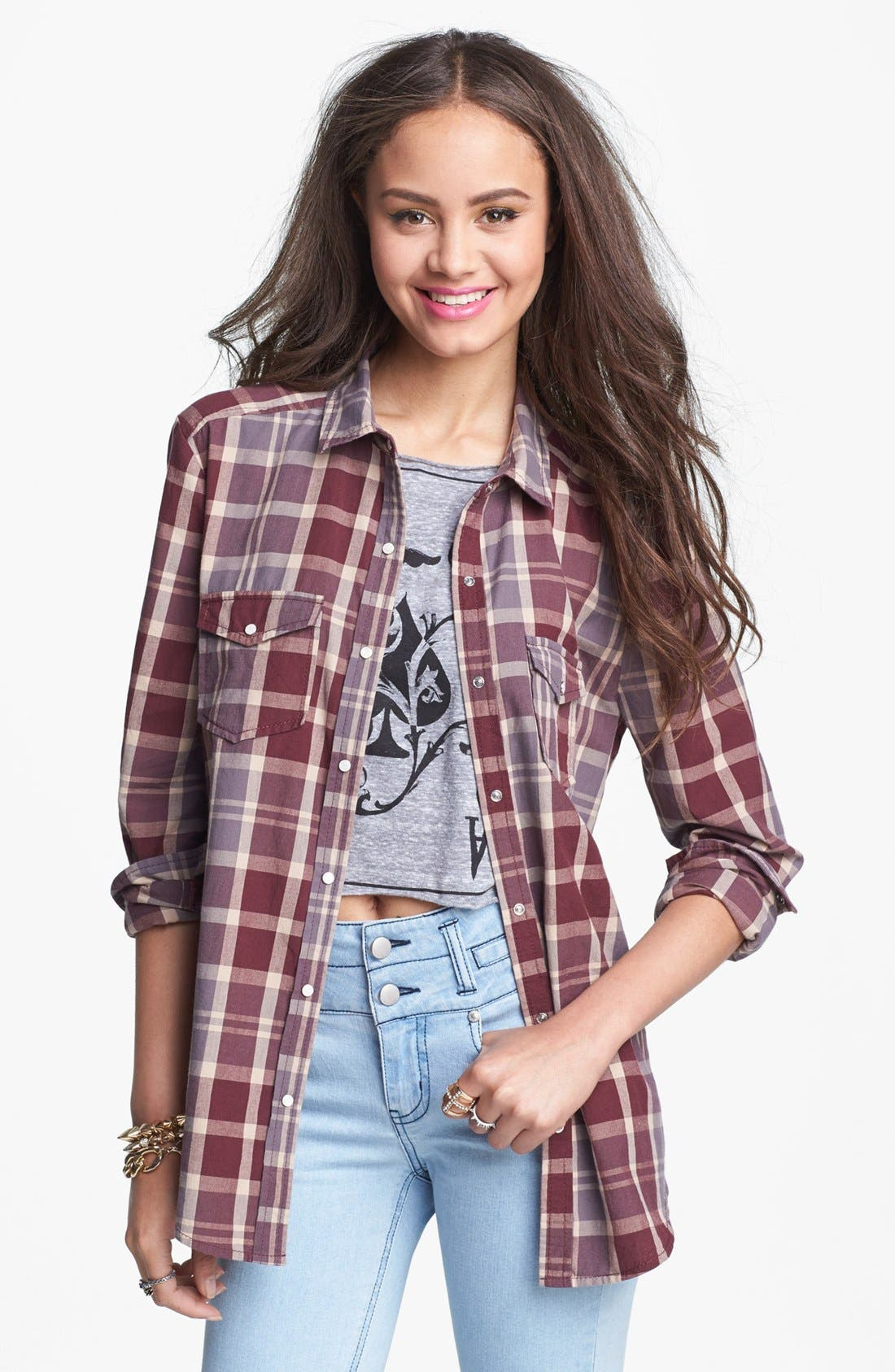 Alternate Image 1 Selected - Rubbish® Plaid Shirt (Juniors)