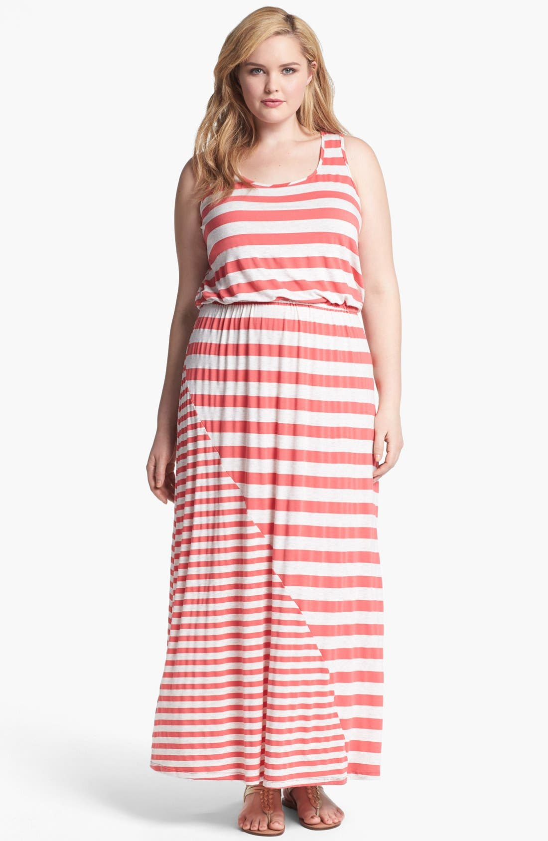 Main Image - Olivia Moon Stripe Jersey Maxi Dress (Plus Size)