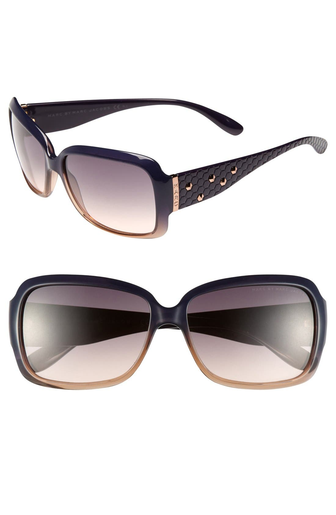 Main Image - MARC BY MARC JACOBS Studded 58mm Square Sunglasses