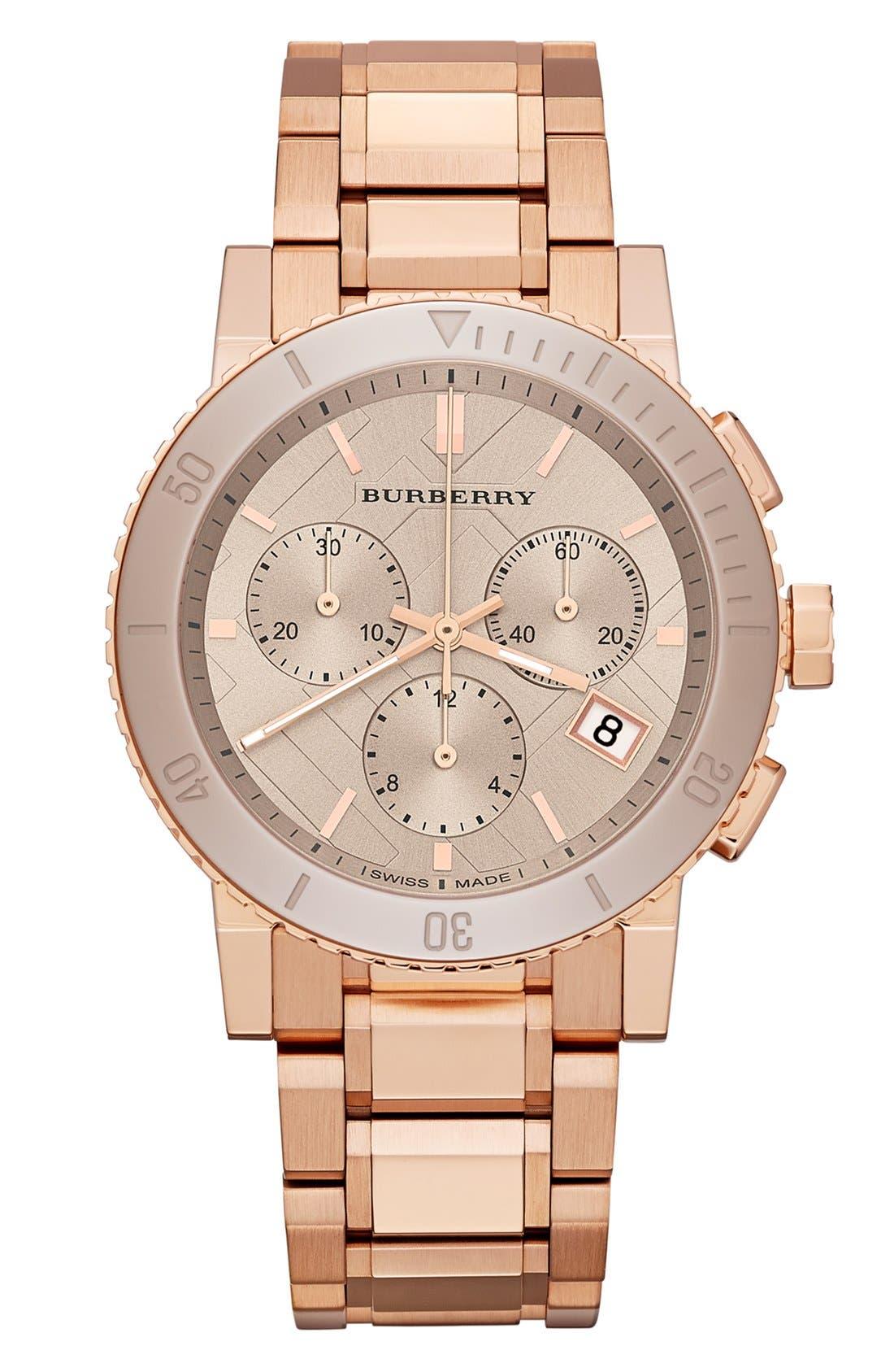Main Image - Burberry Ceramic Bezel Chronograph Bracelet Watch, 38mm