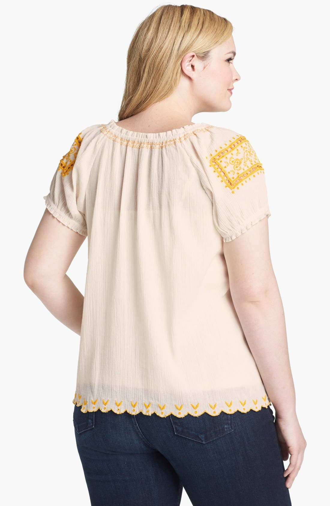 Alternate Image 2  - Lucky Brand 'Sofi' Embroidered Eyelet Top (Plus Size)