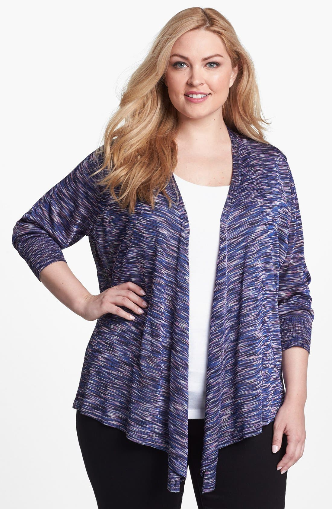 Alternate Image 1 Selected - NIC+ZOE 'Space Dye' Four-Way Convertible Cardigan (Plus Size)