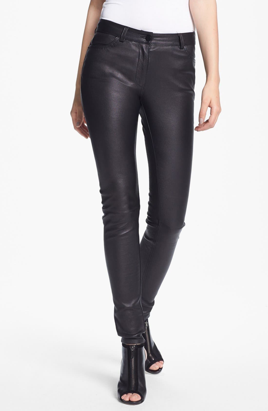 Alternate Image 1 Selected - T by Alexander Wang Stretch Leather Pants