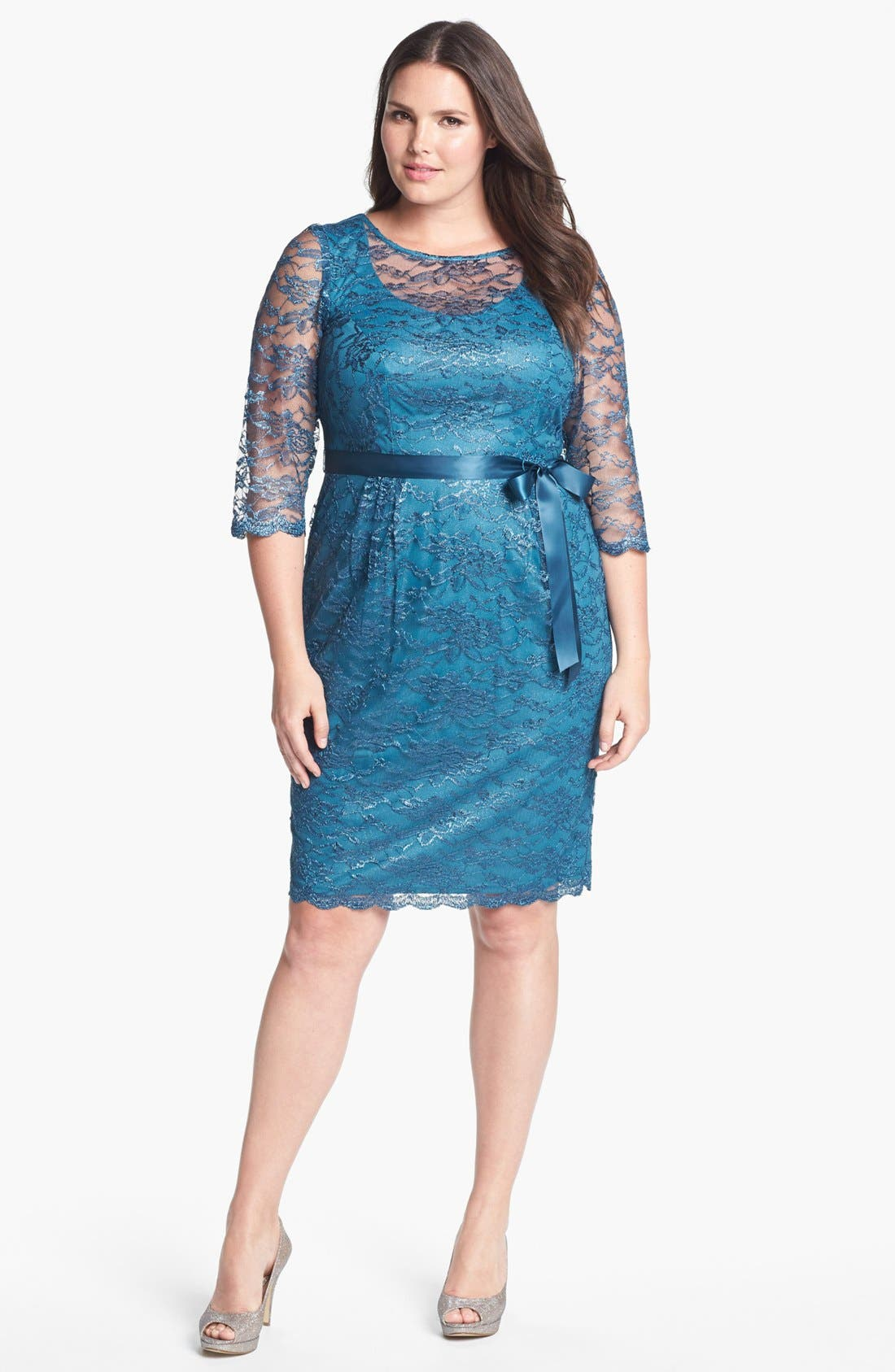 Alternate Image 1 Selected - Alex Evenings Illusion Sleeve Lace Dress (Plus Size)