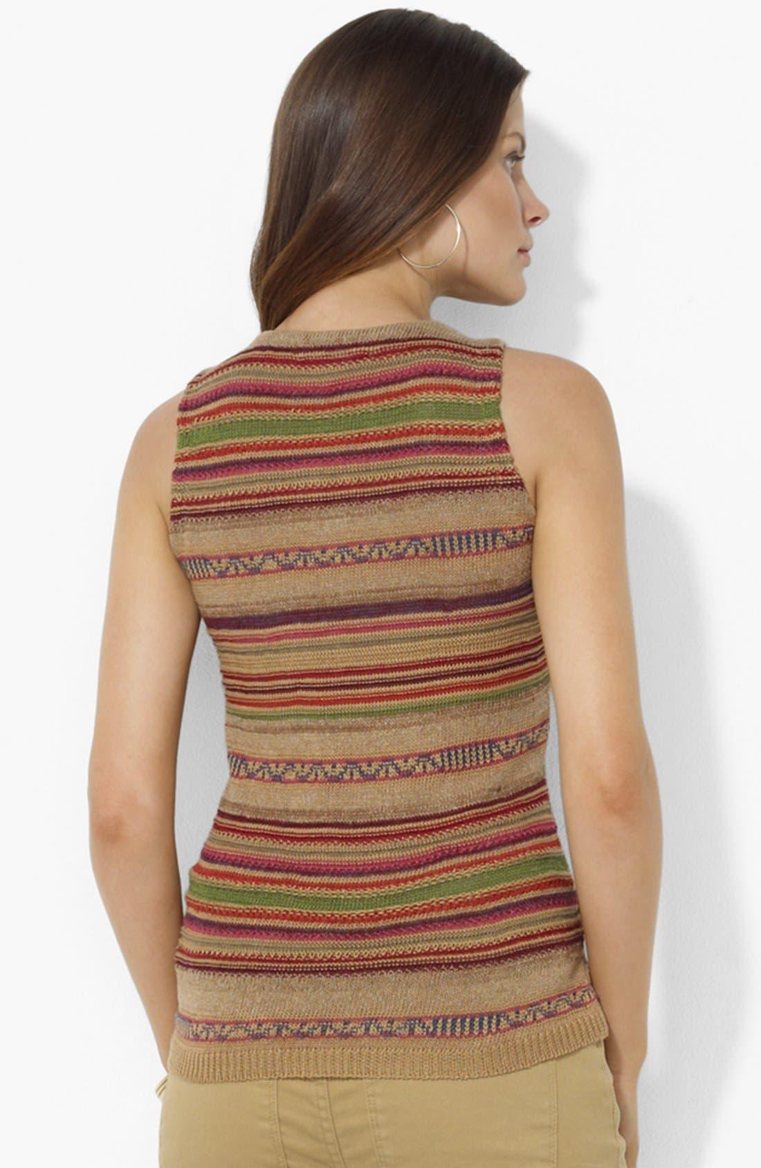 Alternate Image 2  - Lauren Ralph Lauren Stripe Keyhole Sweater (Petite)