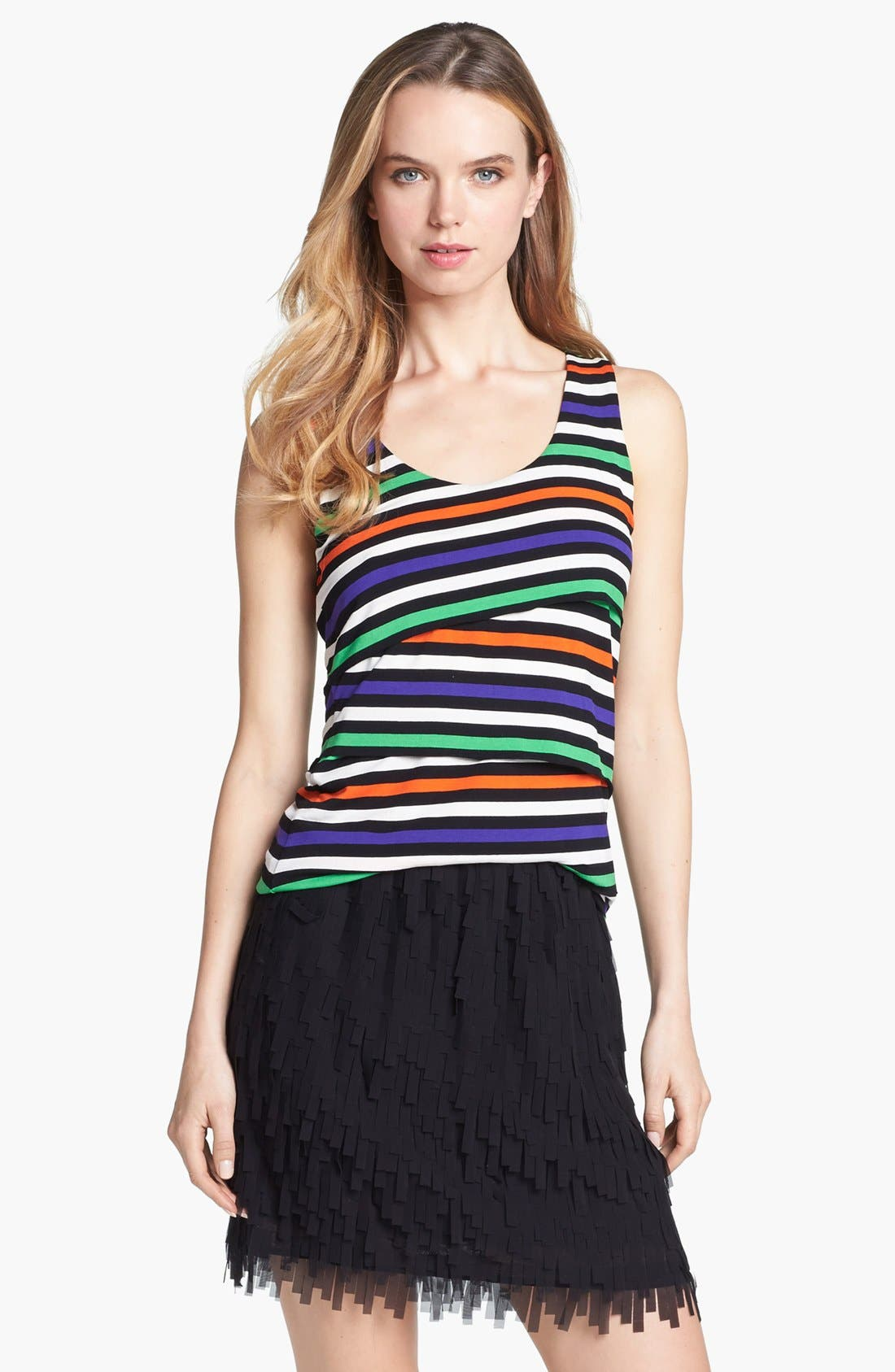 Alternate Image 1 Selected - Vince Camuto Variegated Stripe Tiered Tank