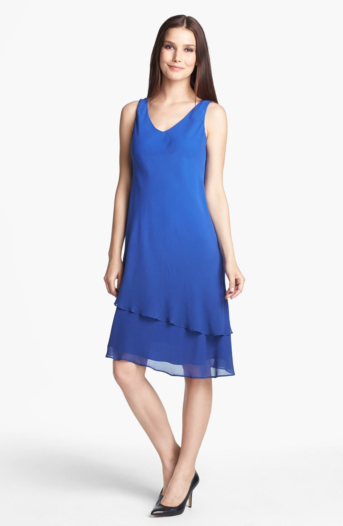 Alternate Image 1 Selected - Eileen Fisher Double Layered Silk Dress