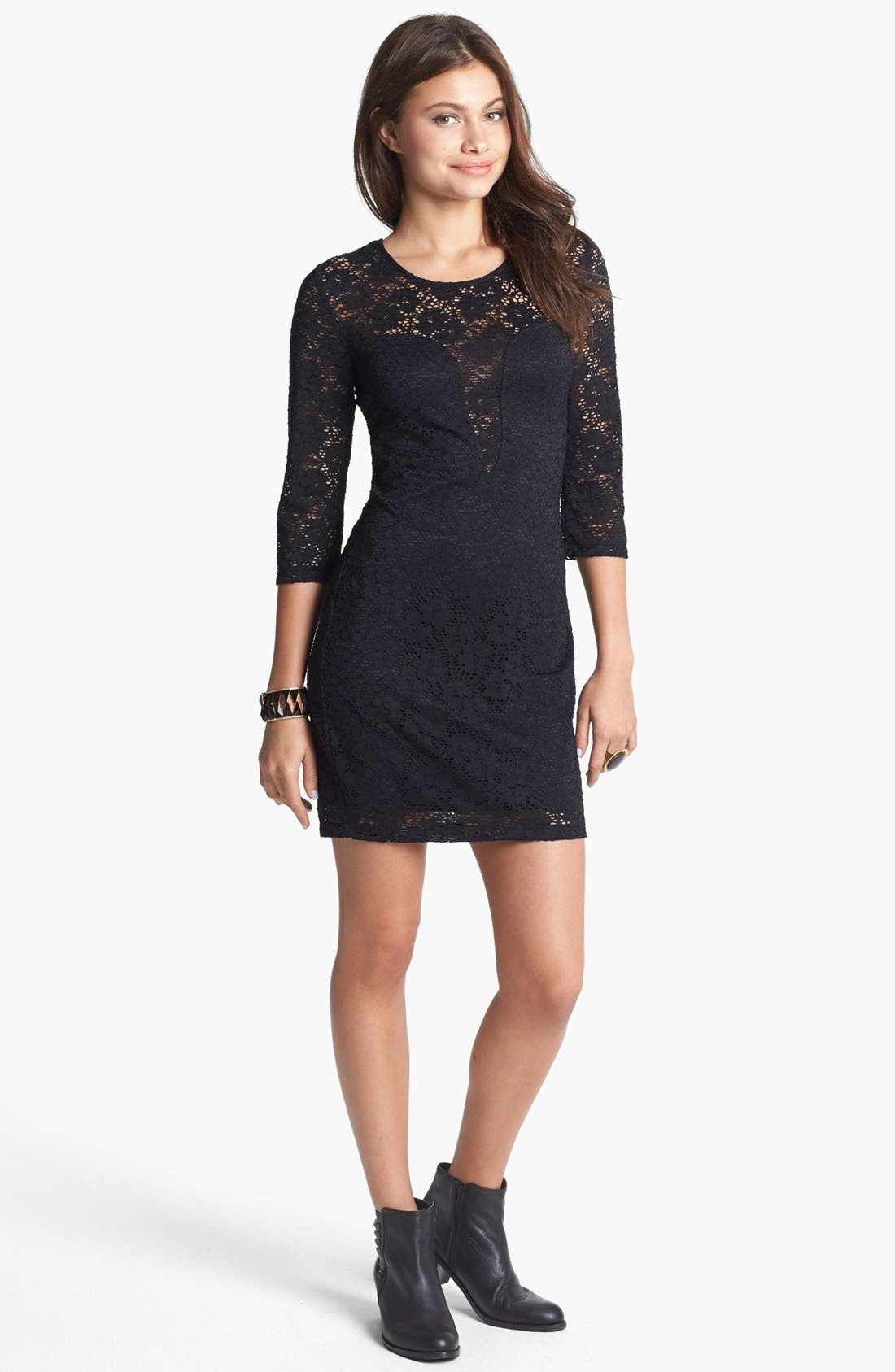 Main Image - Trixxi Cutout Lace Body-Con Dress (Juniors) (Online Only)