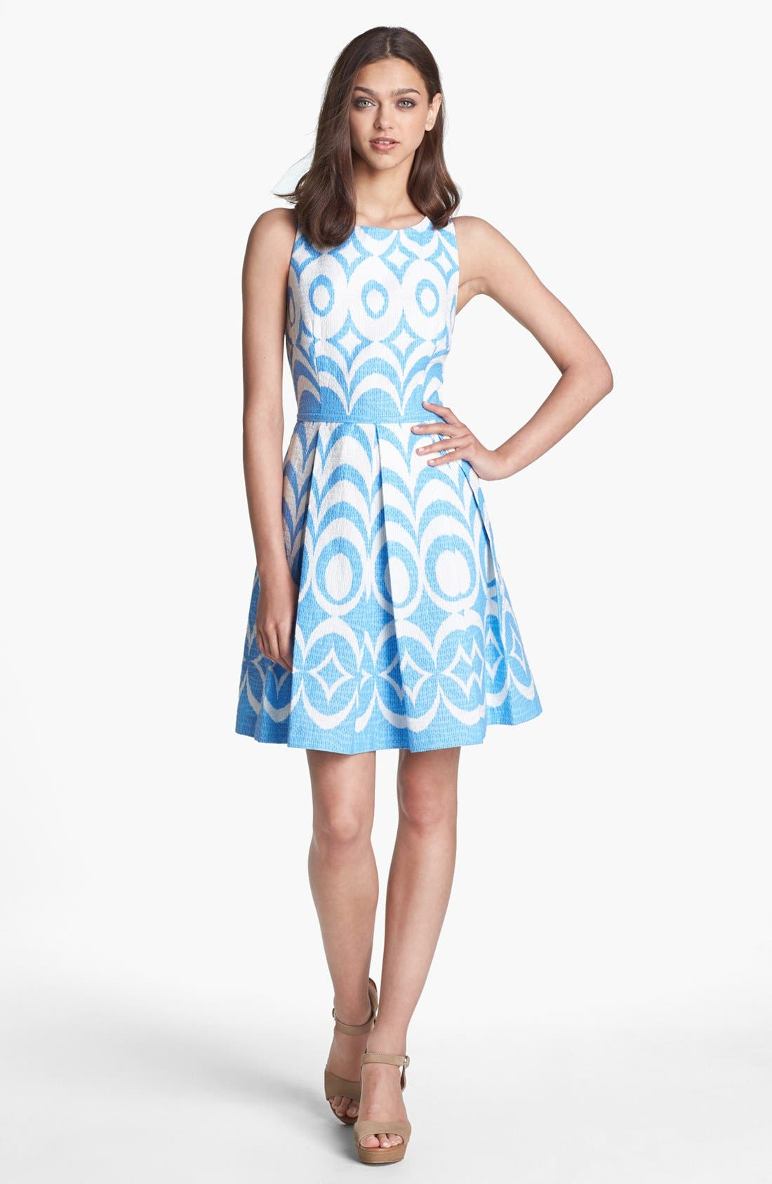 Alternate Image 1 Selected - Taylor Dresses Print Sleeveless Fit & Flare Dress