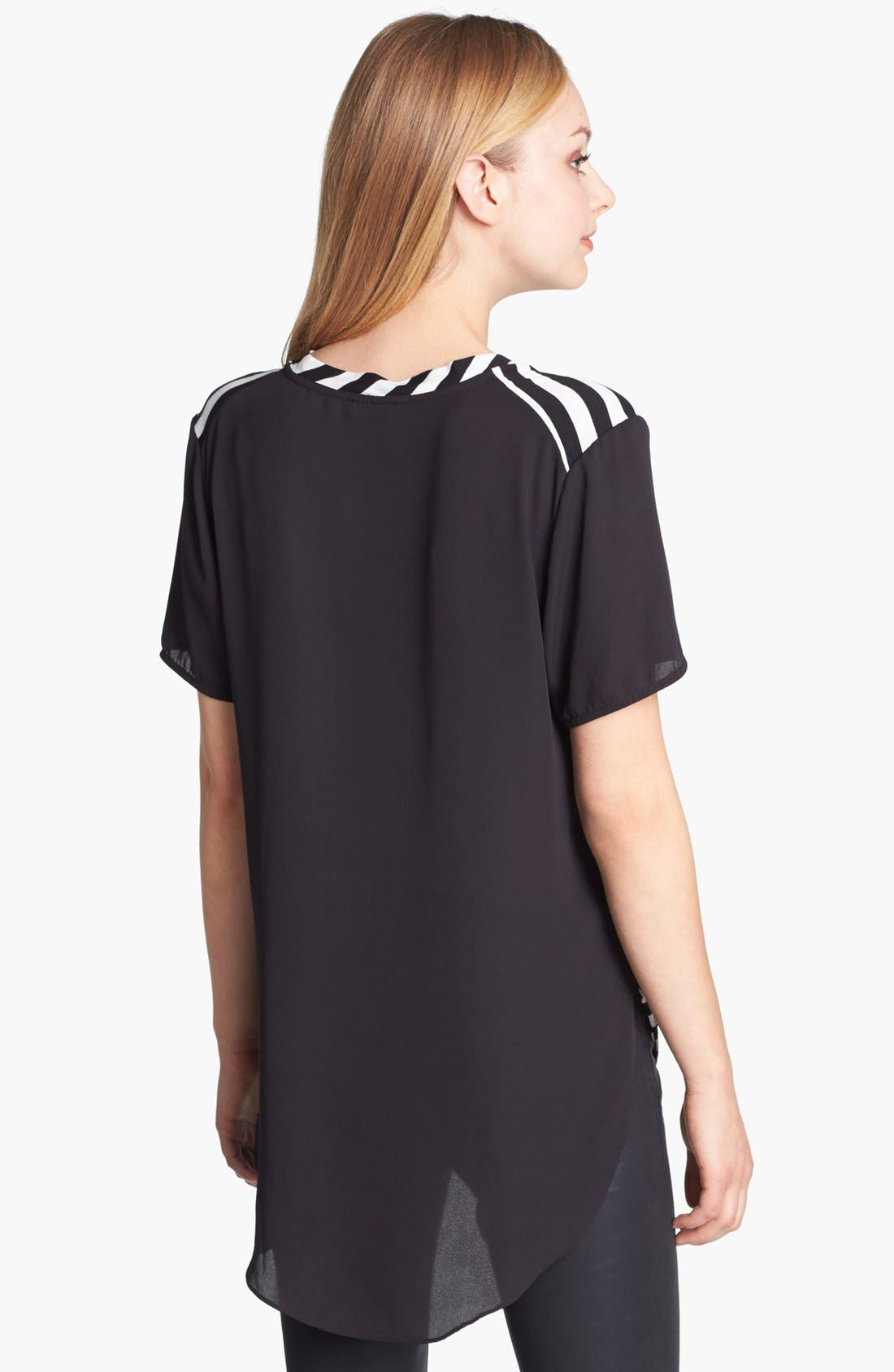 Alternate Image 2  - Vince Camuto Stripe Front Mixed Media Tee