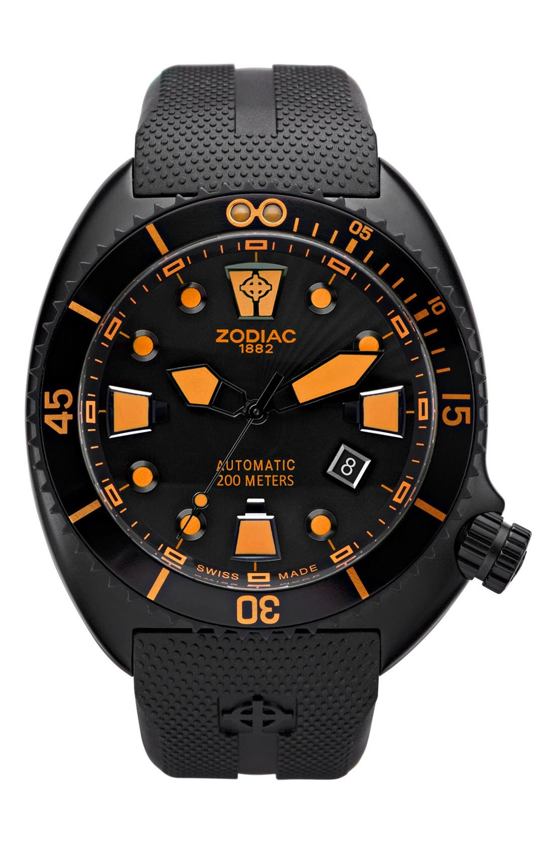 Main Image - Zodiac 'Oceanaire' Automatic Rubber Strap Watch, 45mm