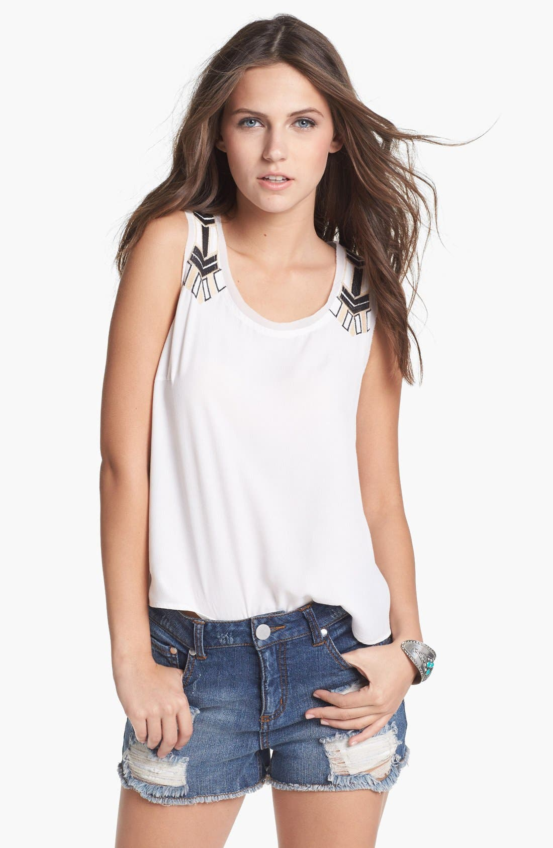 Alternate Image 1 Selected - Lush Embroidered Tank (Juniors)