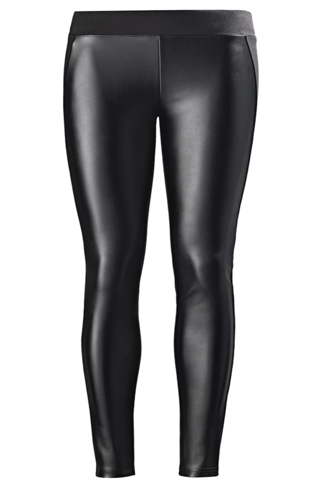 Alternate Image 4  - Nordstrom 'Double Trouble' Knit & Faux Leather Leggings