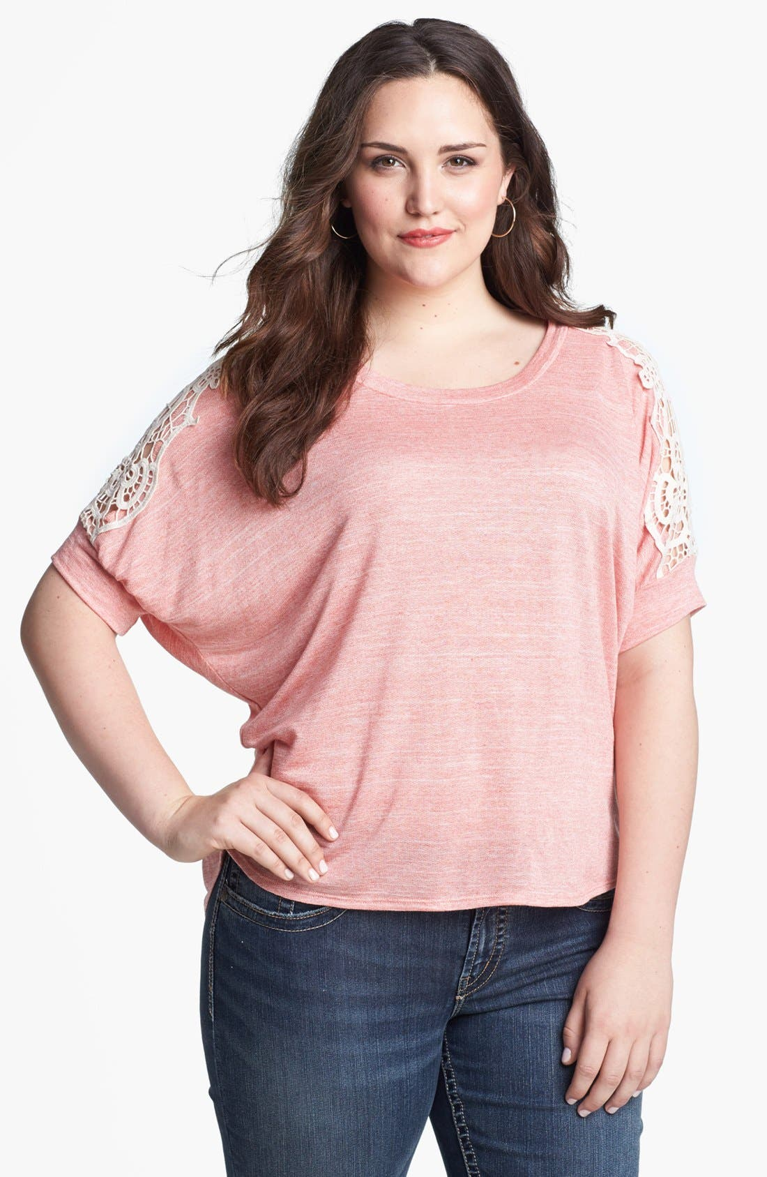 Main Image - Painted Threads Lace Sleeve Tee (Juniors Plus)