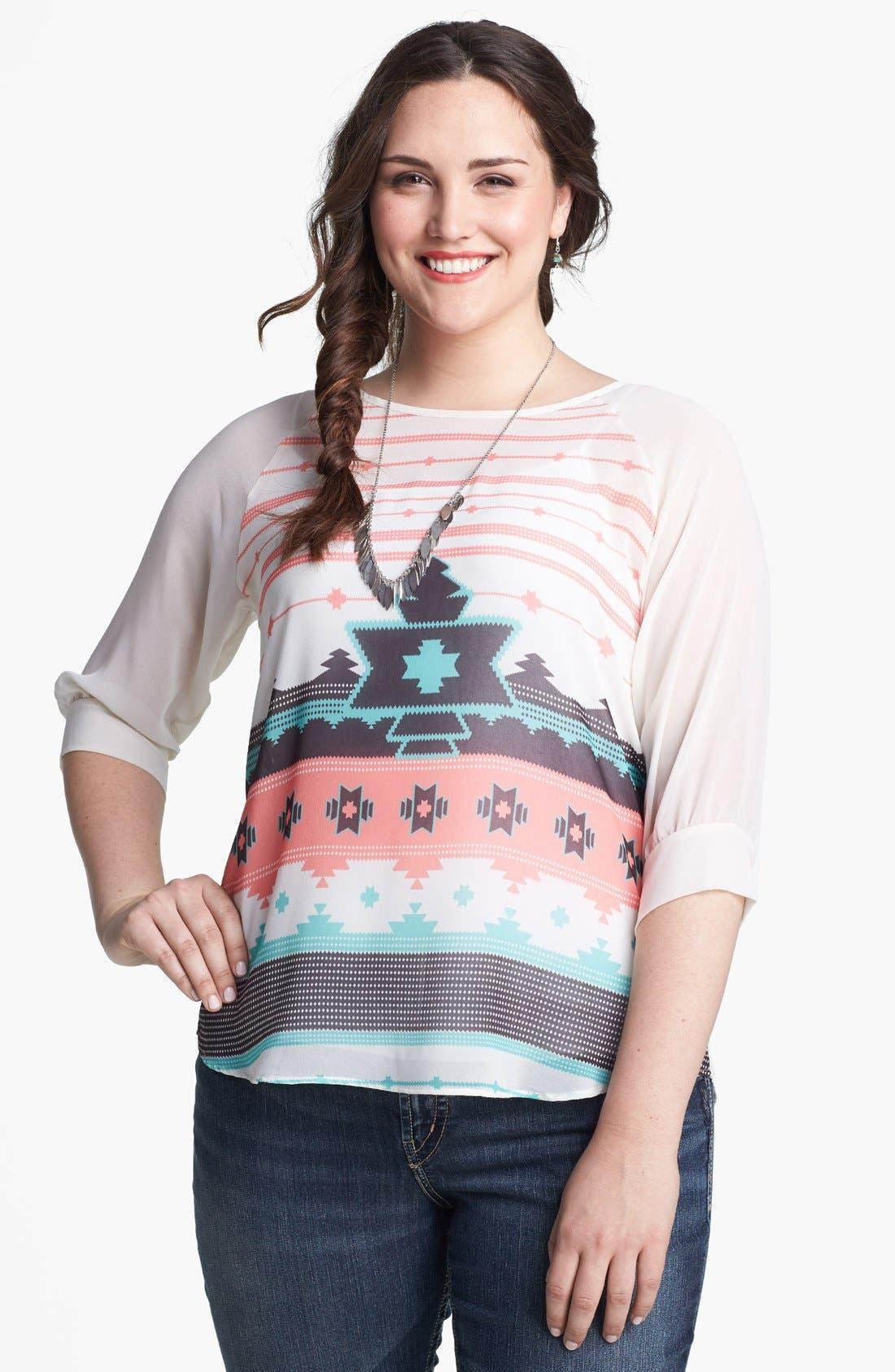 Main Image - Painted Threads Print Tie Back Top (Juniors Plus)