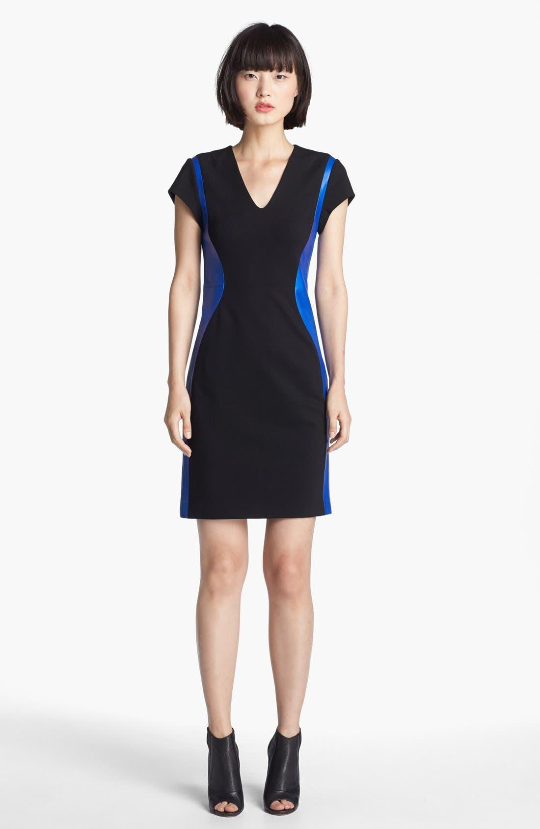 Alternate Image 1 Selected - Diane von Furstenberg 'Dayton' Stretch & Leather Sheath Dress