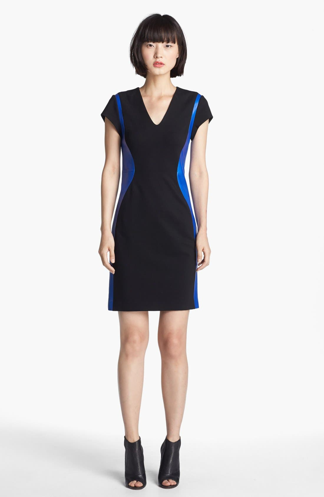 Main Image - Diane von Furstenberg 'Dayton' Stretch & Leather Sheath Dress