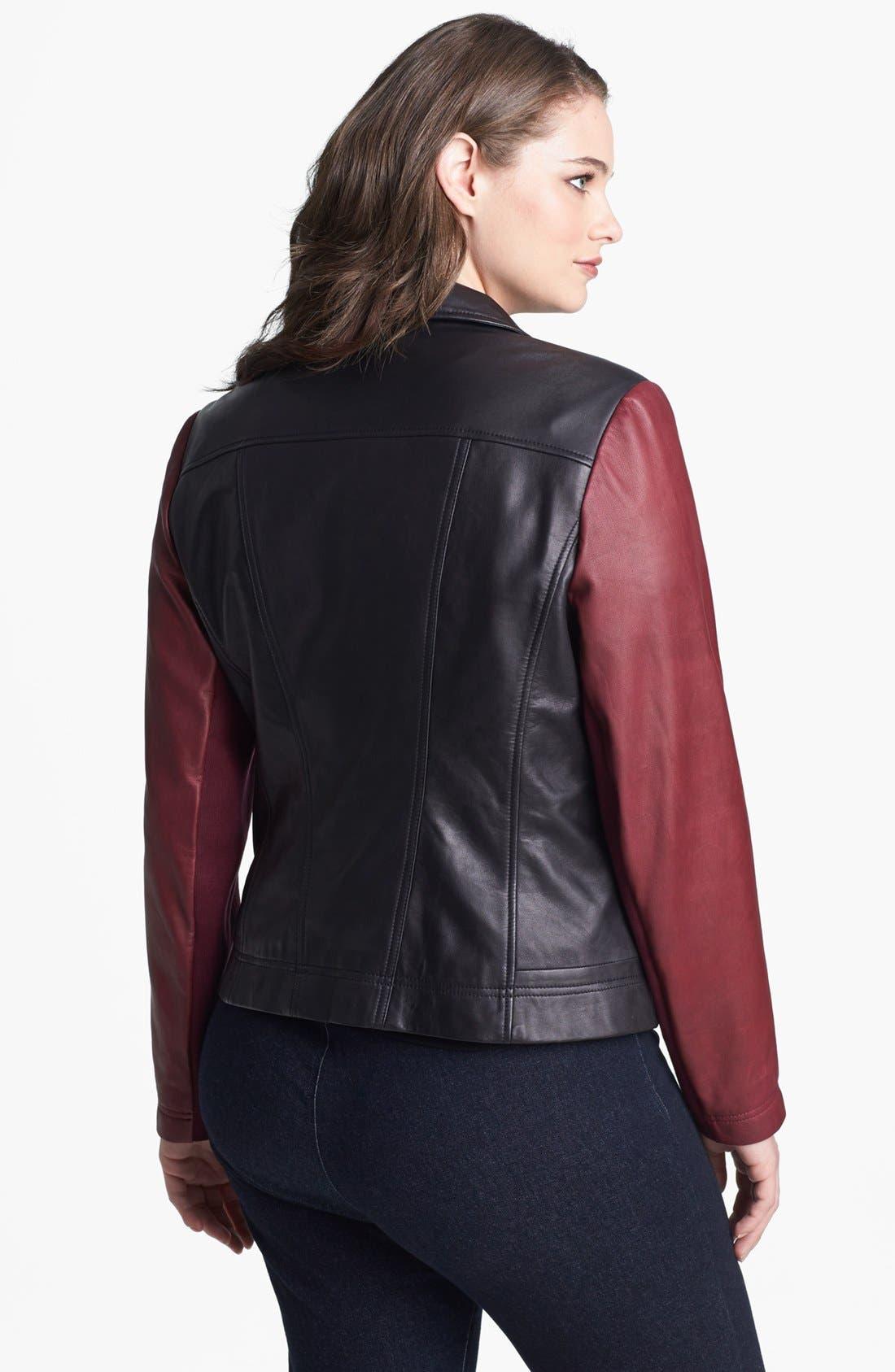 Alternate Image 2  - Halogen® Colorblock Leather Moto Jacket (Plus Size)