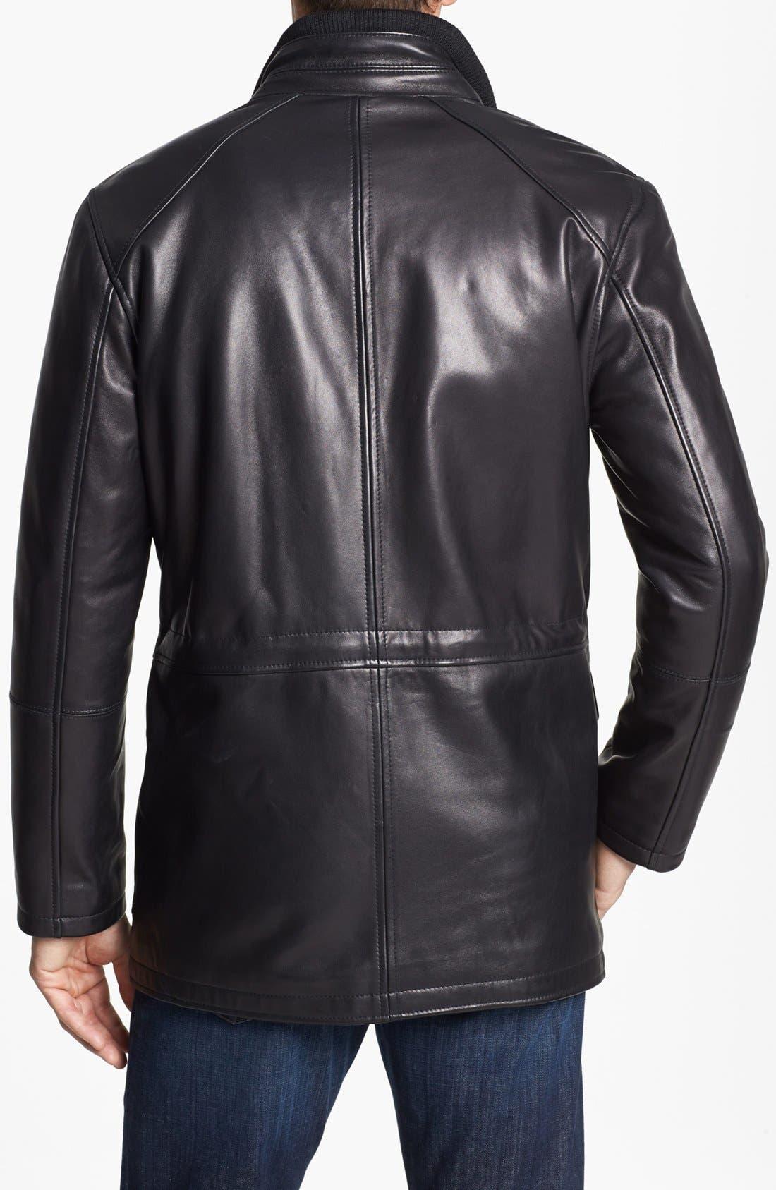 Alternate Image 2  - Cole Haan Lambskin Leather Car Coat