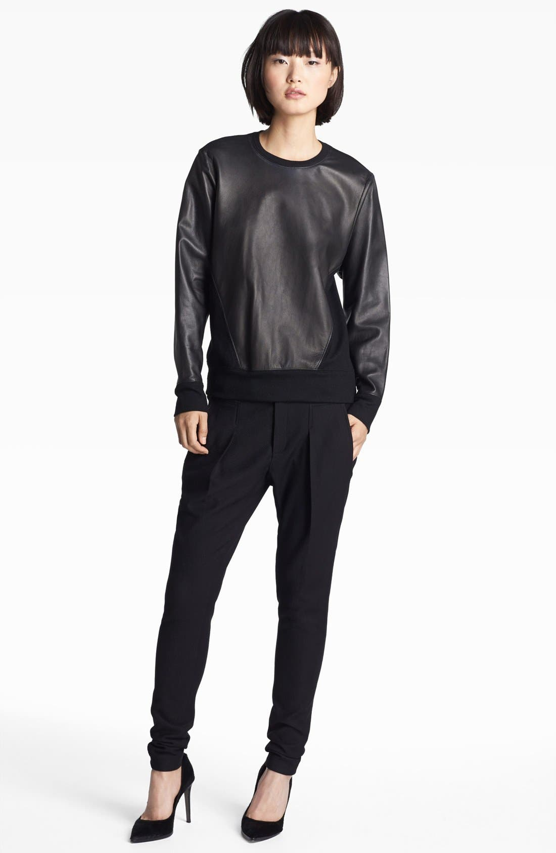 Alternate Image 2  - Helmut Lang Leather Sweatshirt