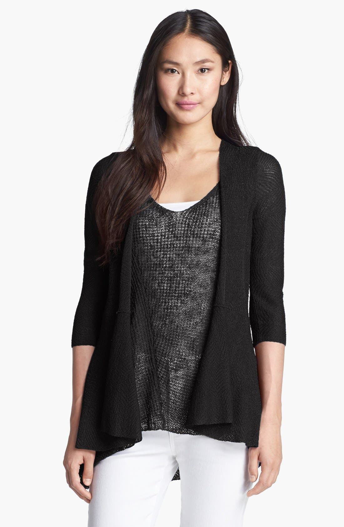 Main Image - Eileen Fisher Angled Knit Cardigan (Plus Size)