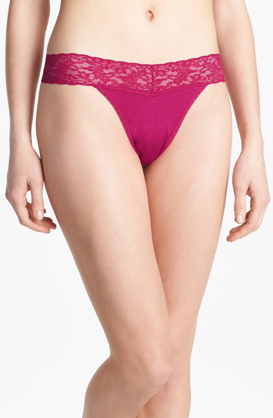 Hanky Panky Mid Rise Modal Thong with Lace Trim