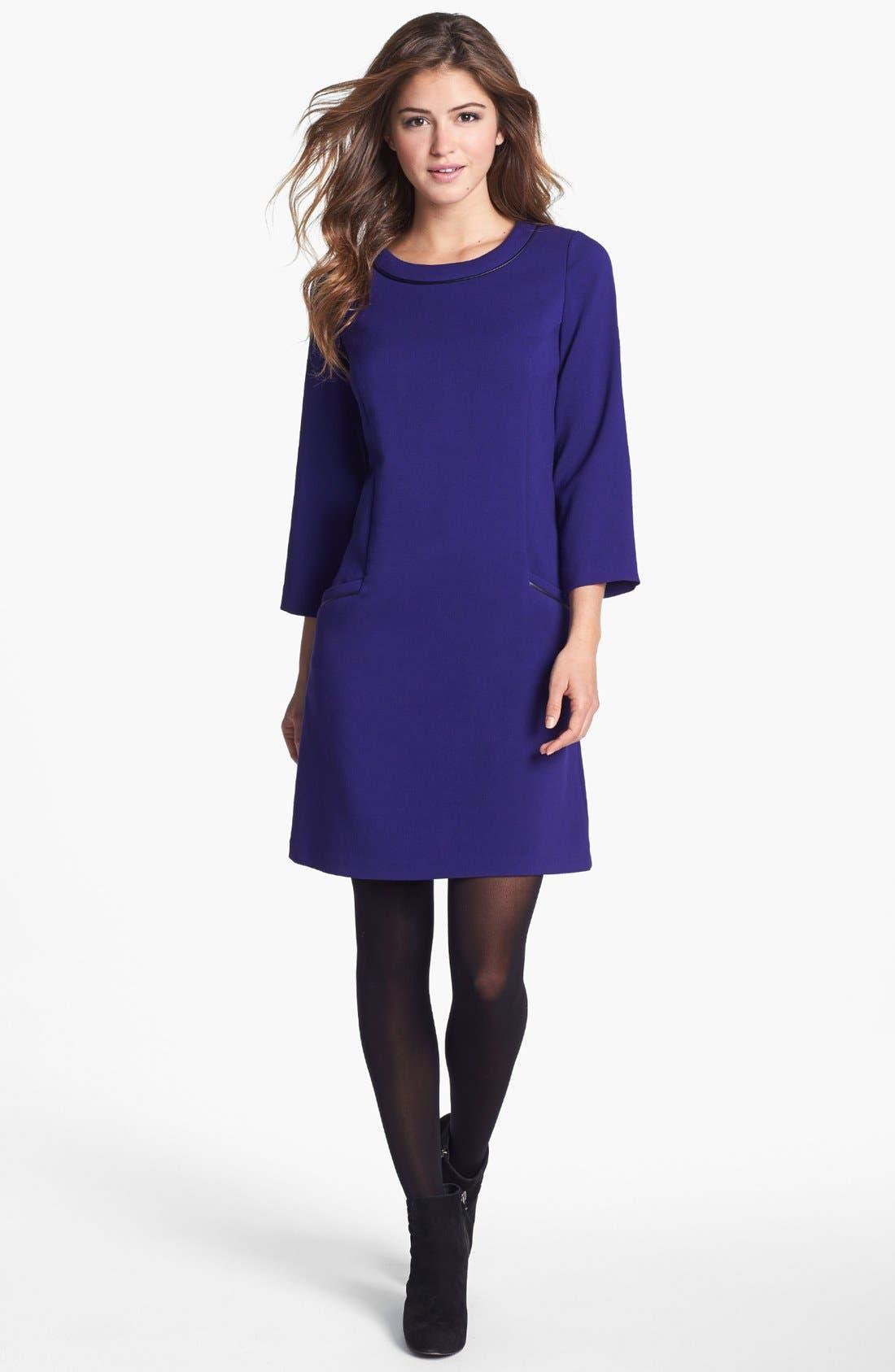 Main Image - Eliza J Faux Leather Trim Shift Dress
