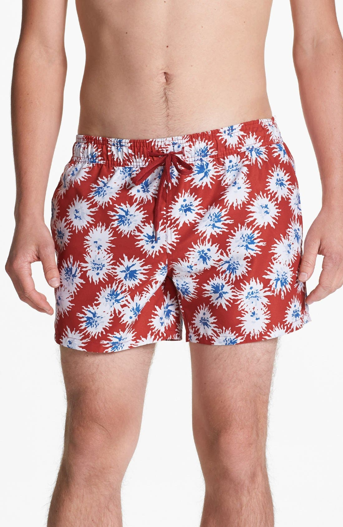 Main Image - Topman Floral Print Swim Trunks