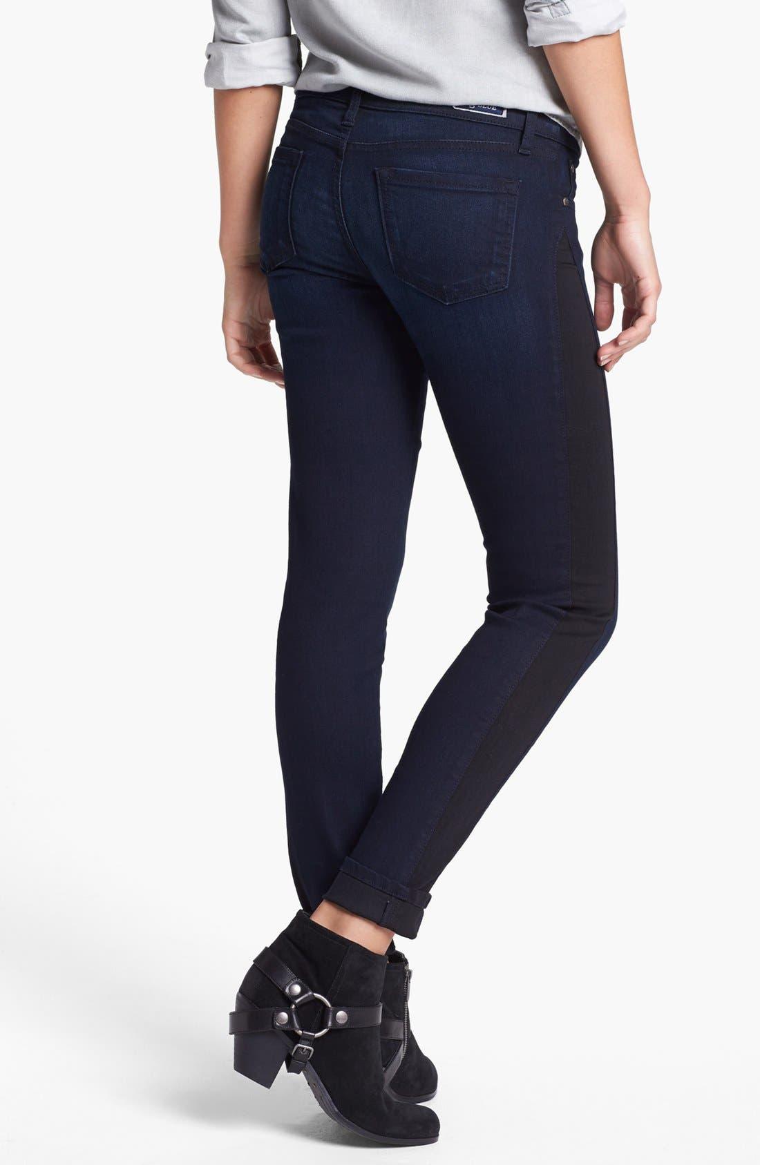Alternate Image 1 Selected - STS Blue Tuxedo Stripe Skinny Jeans (Medium) (Juniors)
