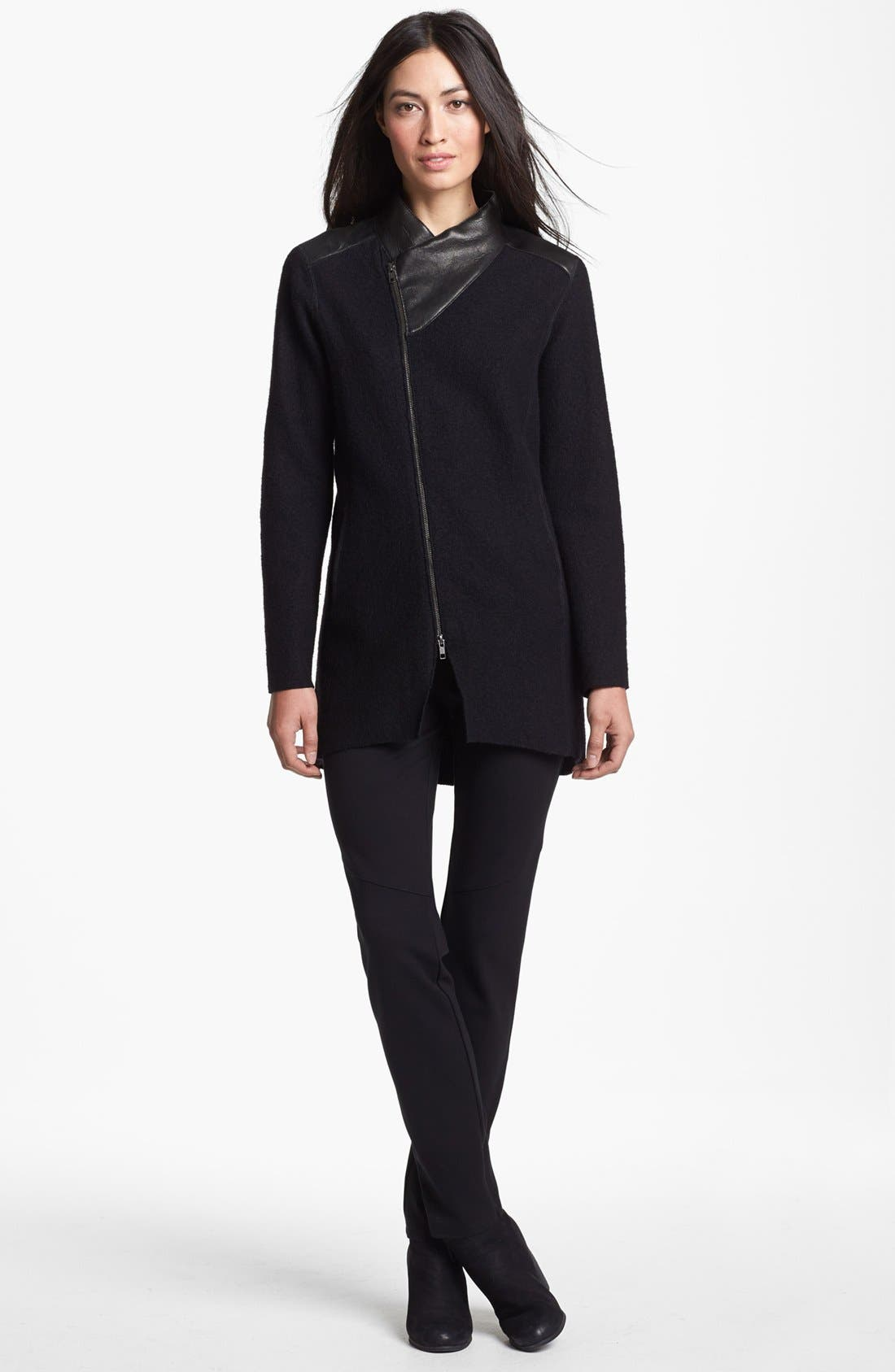 Alternate Image 2  - Eileen Fisher Leather Trim Boiled Wool Jacket