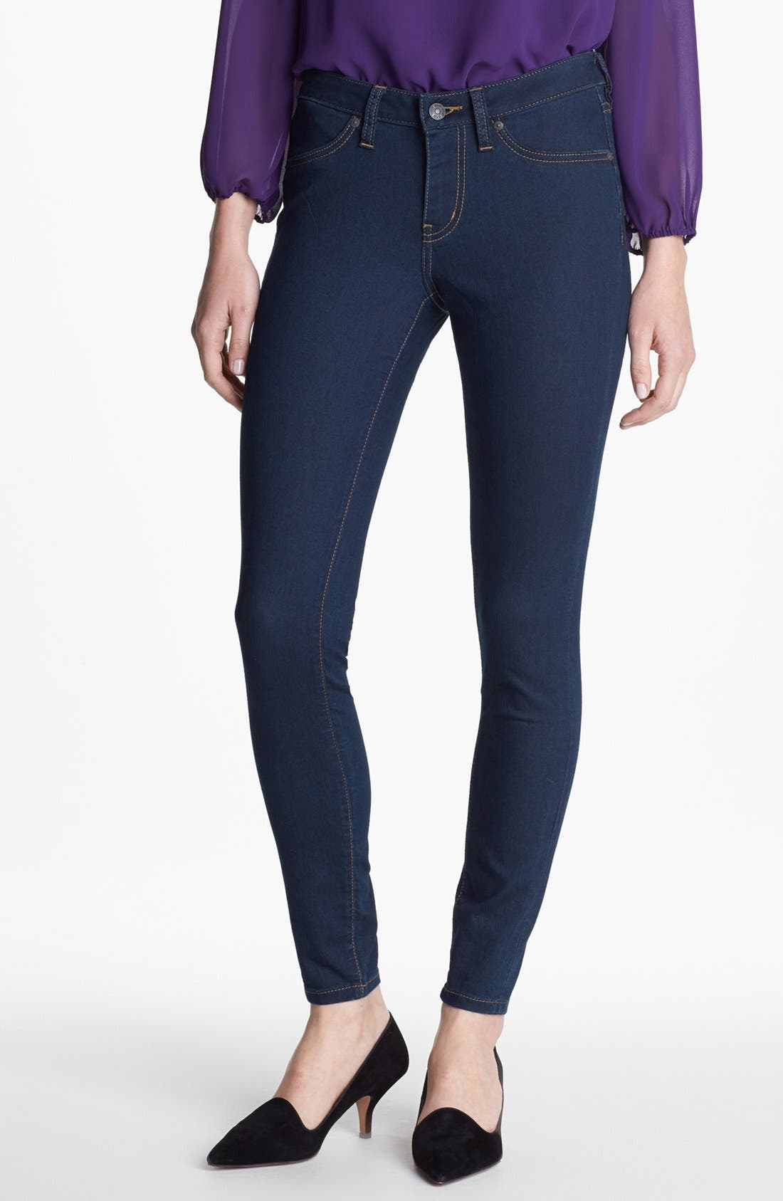 Alternate Image 1 Selected - Jag Jeans 'Olivia' Denim Leggings (Indigo) (Petite)