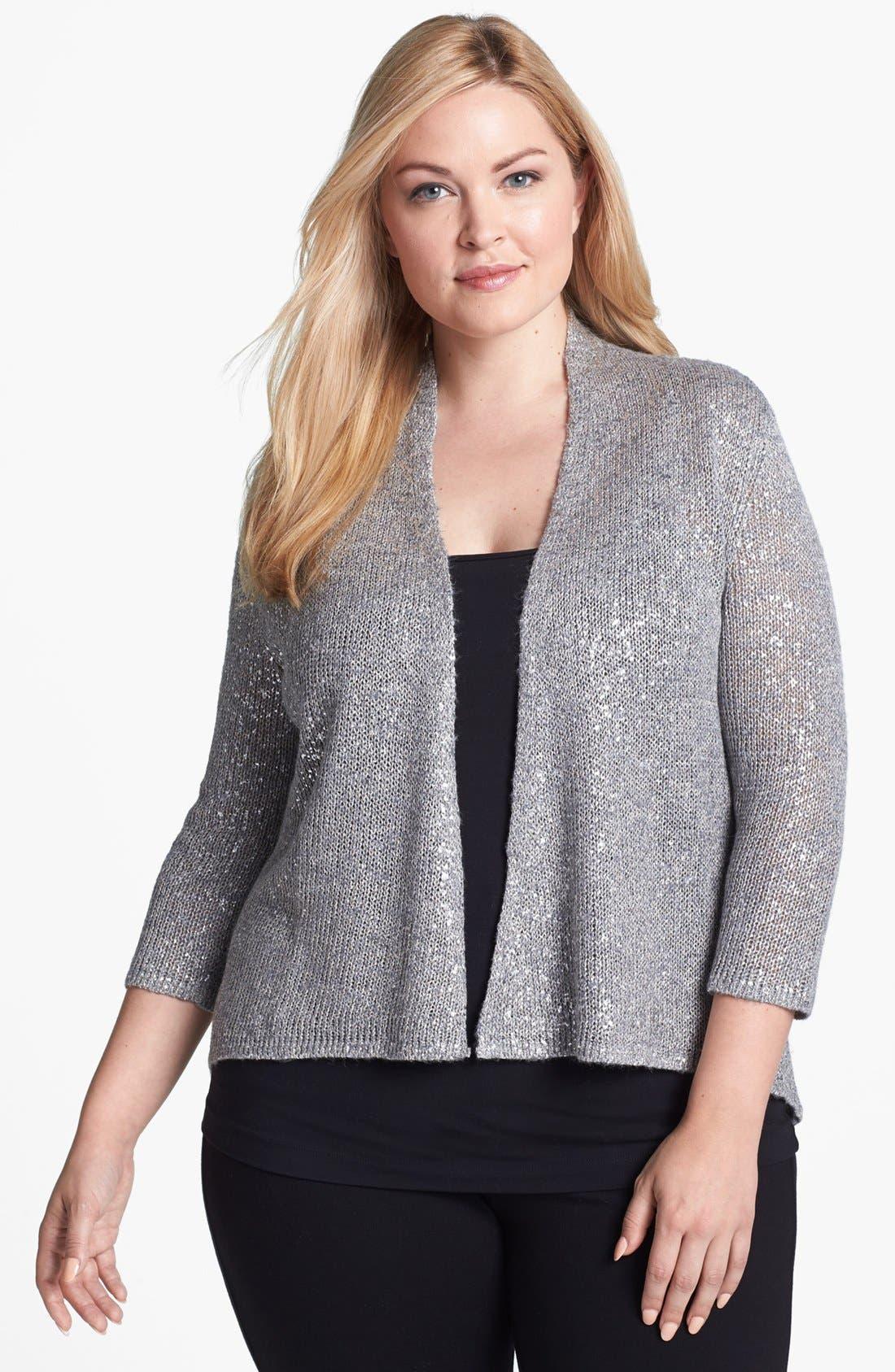Main Image - Eileen Fisher Metallic Cardigan (Plus Size)