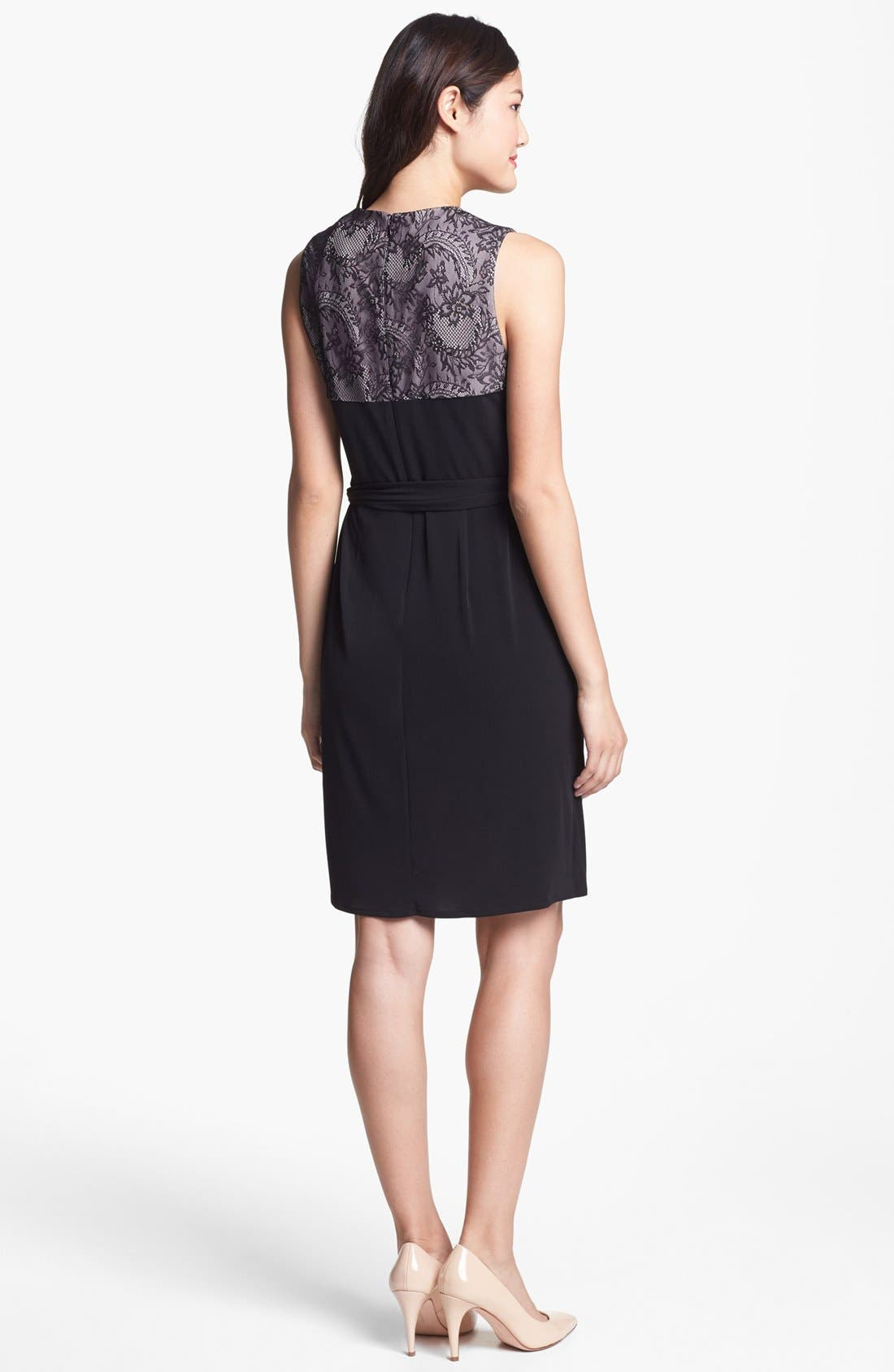 Alternate Image 2  - Ivy & Blu Lace Back Faux Wrap Dress