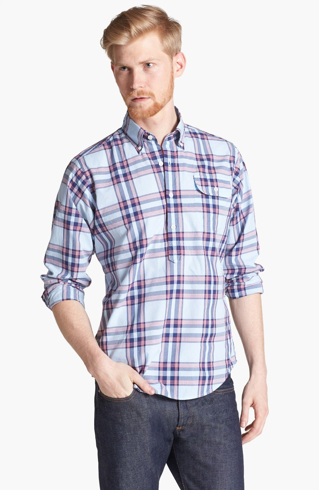 Main Image - Gant by Michael Bastian Plaid Pullover Woven Shirt
