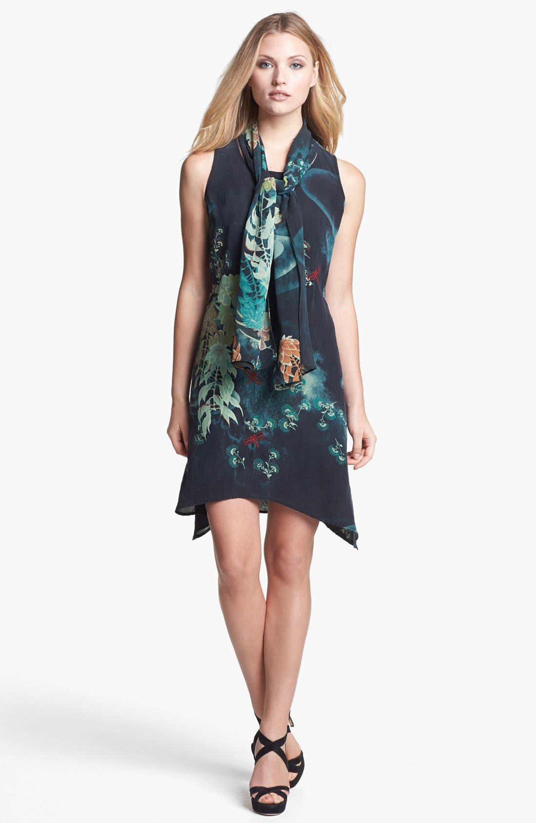 Main Image - Citron Silk Dress with Scarf