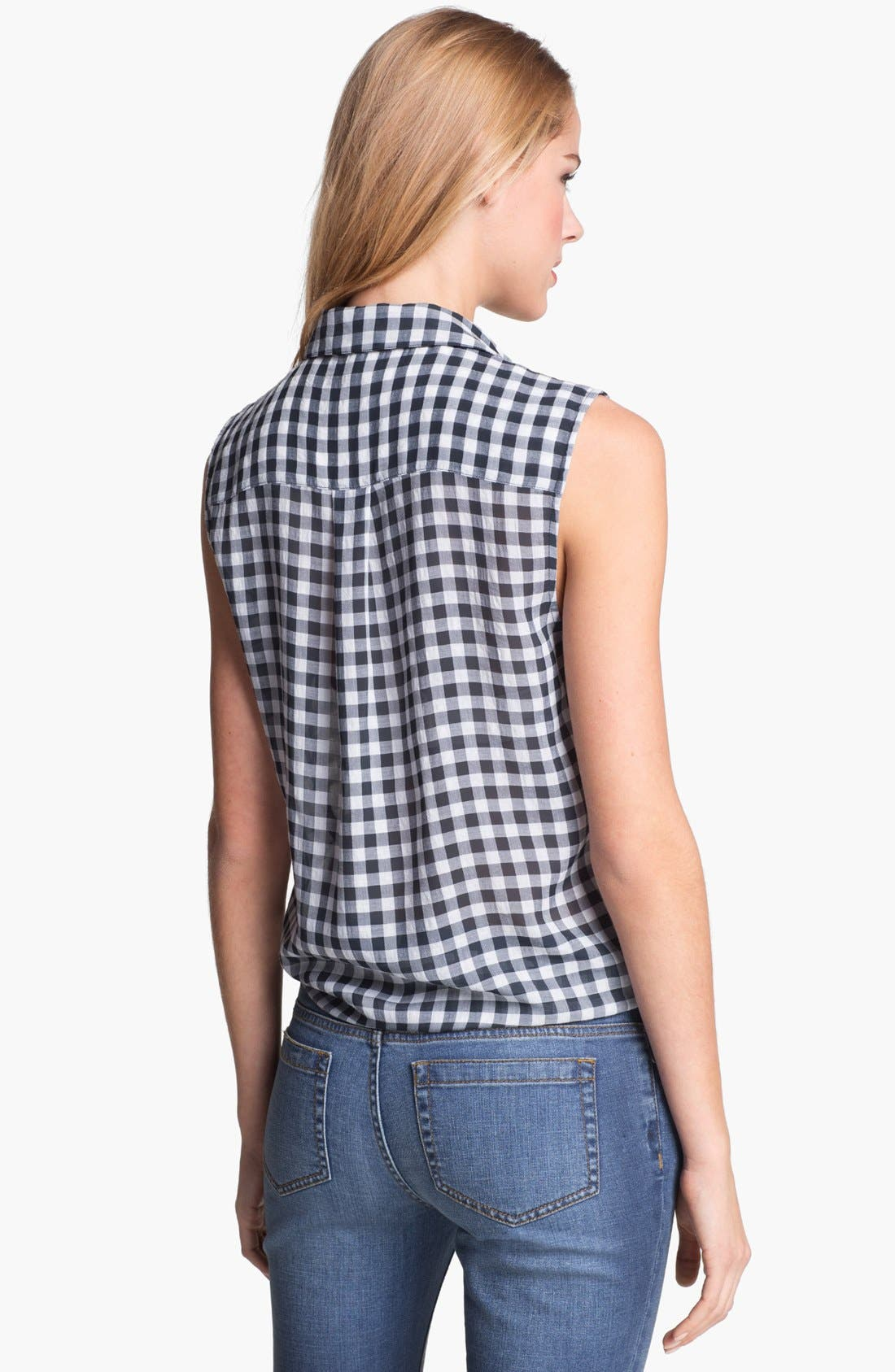 Alternate Image 2  - Two by Vince Camuto Sleeveless Plaid Blouse (Petite)