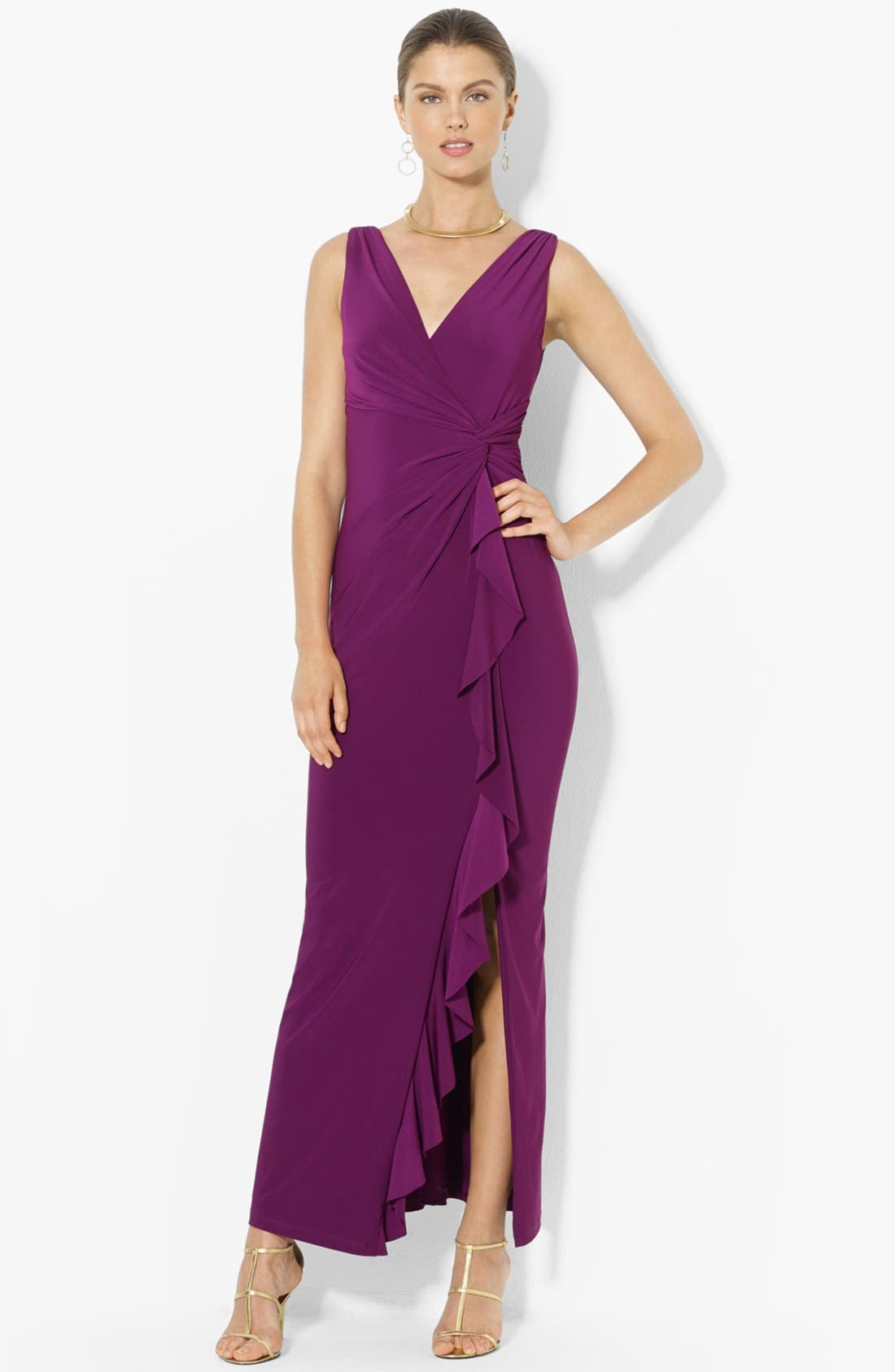 Alternate Image 1 Selected - Lauren Ralph Lauren Matte Jersey Faux Wrap Gown
