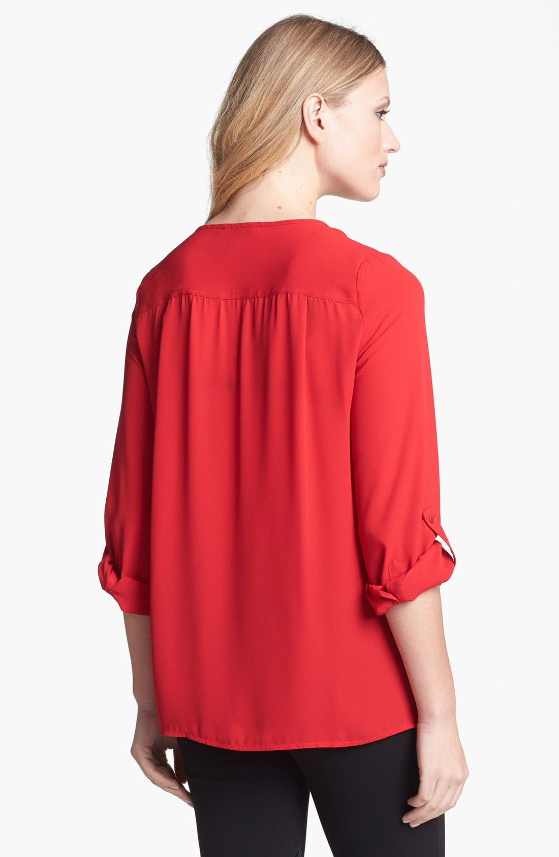 Alternate Image 2  - Chaus Roll Sleeve Henley Blouse
